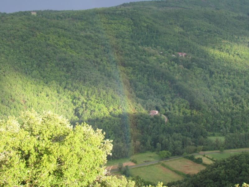 The valley below us looking into Umbria (with rainbow)