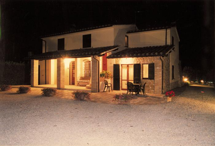 The front of the Farmhouse at night