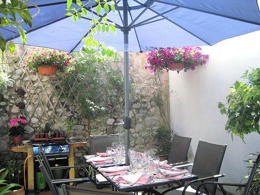 sunny mediterranean courtyard