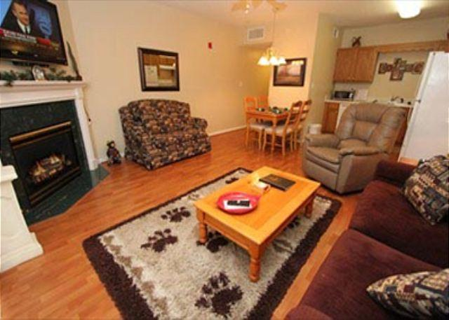 Hardwood in Living Room with Plenty of Seating and Season Gas Fi
