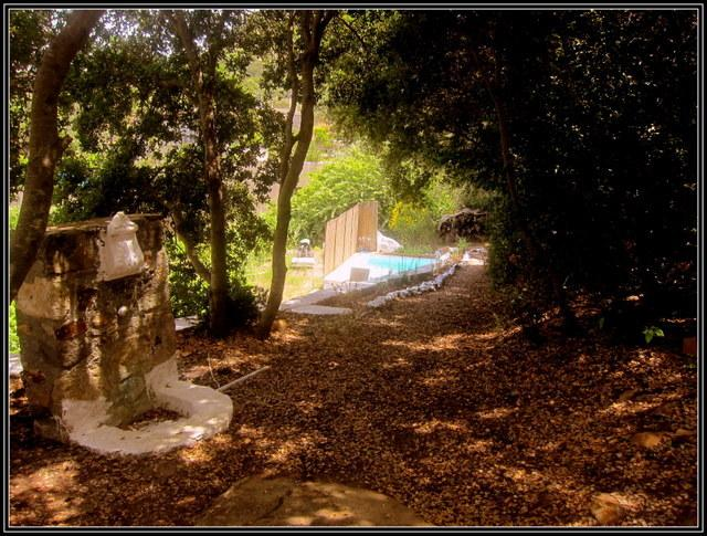 Path from the cottage to the pool. Antique fountain on left