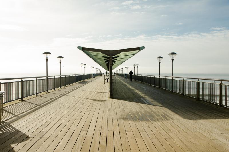 Boscombe Pier, 5 minutes walk away