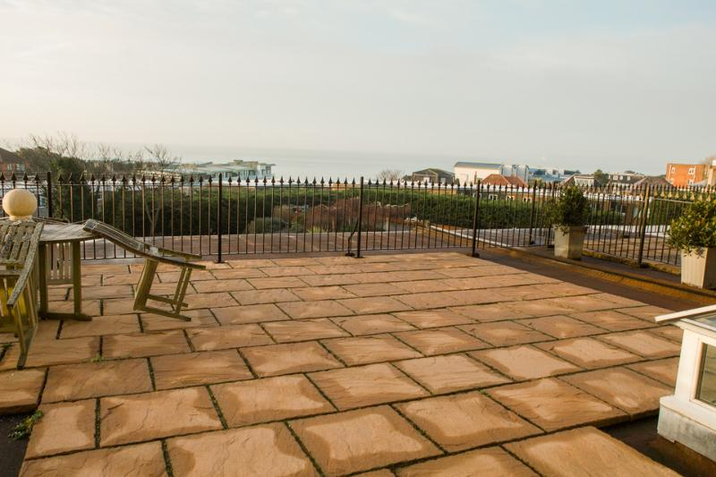 Sea views from your roof terrace, accessible from the living area and master bedroom.