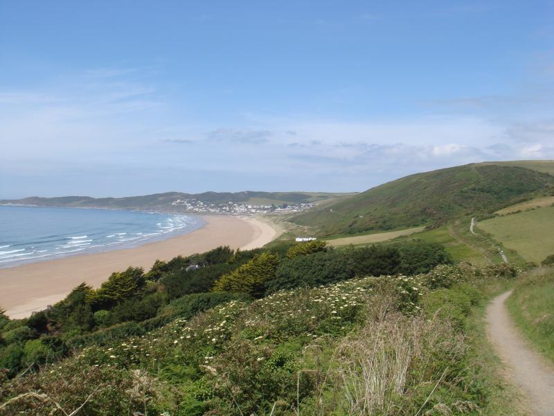 Putsborough beach with coastal path to Woolacombe