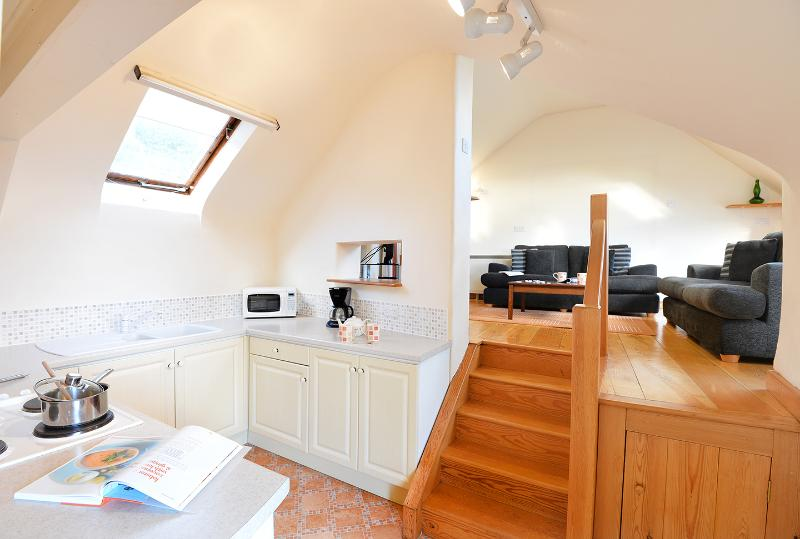 Vaulted ceilings help to create the light, airy atmosphere