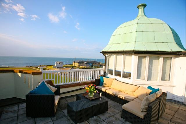 large roof terrace - lovely sun trap, amazing views over the sea - perfect for sunsets or breakfast