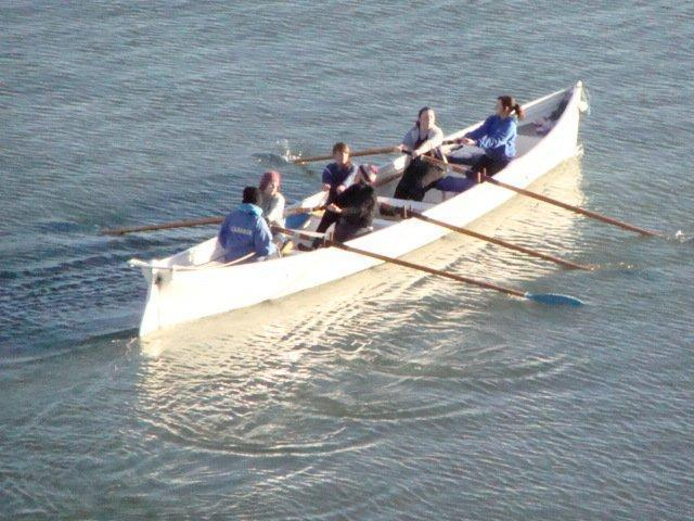Morning rowers passing below the flat