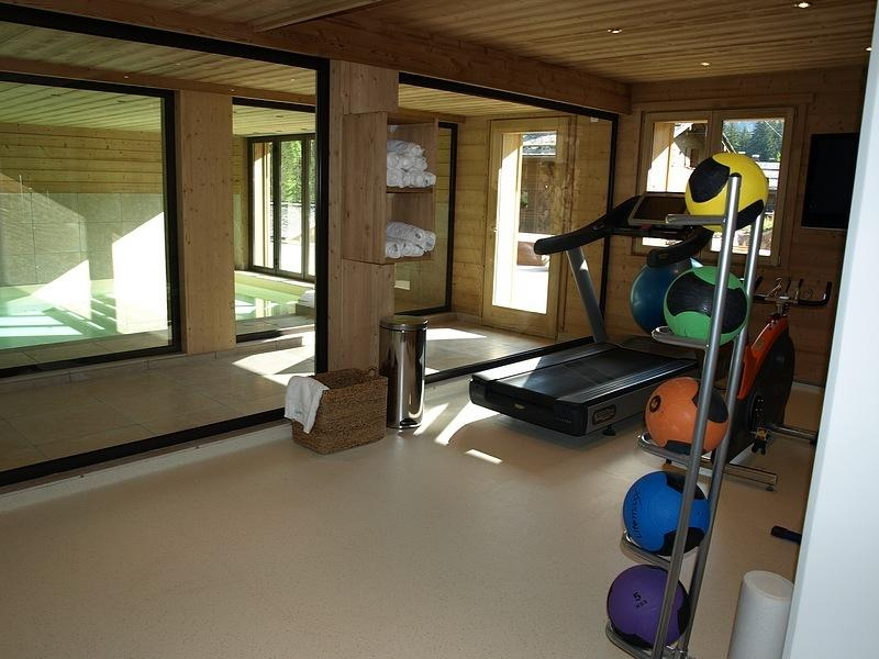 Gym with the pool in the background