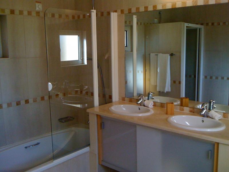 Salle de bain avec baignoire, douche séparée, bidet et WC