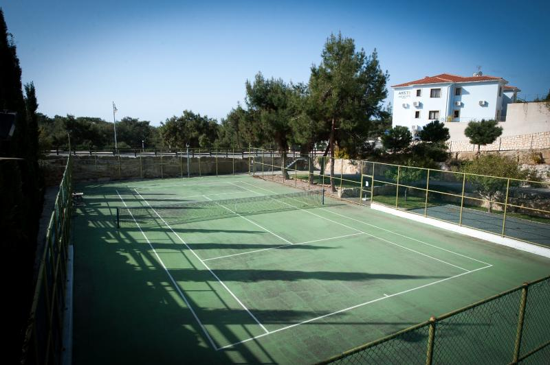 Shared Tennis court and boules