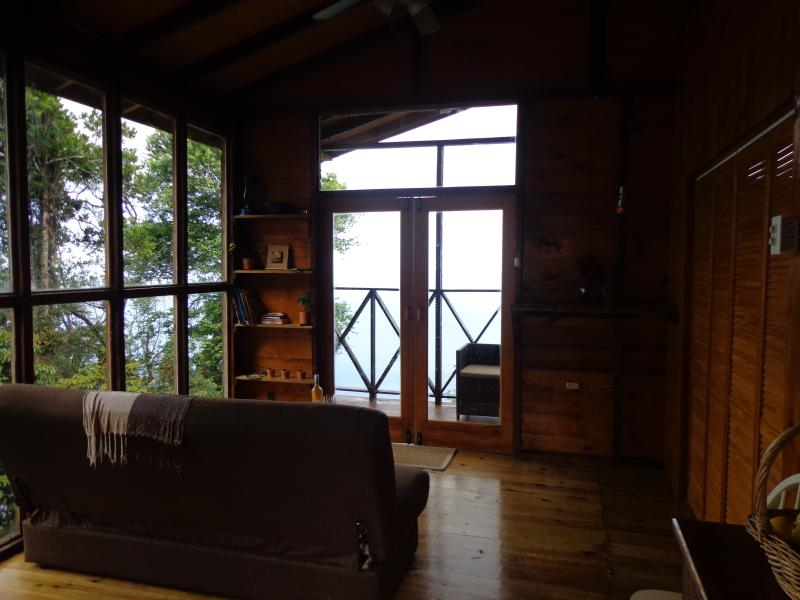 View of cabin living area from entrance.