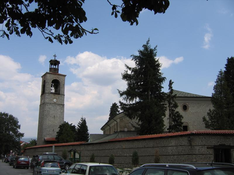 The church tower in the town centre, symbolising Bansko