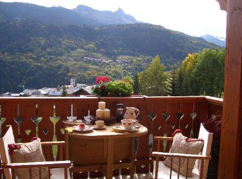16 Chalet Burgin balcony view summer to Mnt. Saullire 2760m.