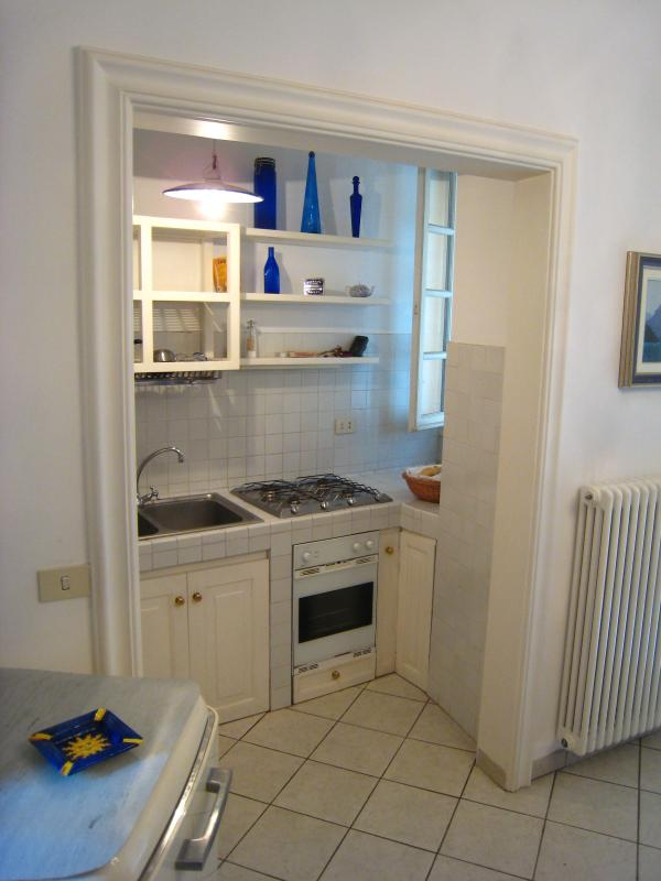 Kitchen with free-standing retro Smeg diswasher and fridge