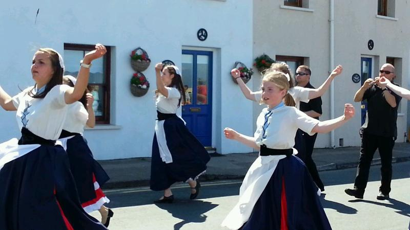Enjoy Manx dancers outside Ben My Chree (means Woman of My Heart) Beach Holiday Cottage