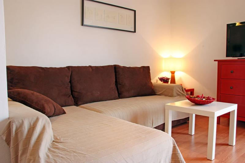 In addition, the apartment has a large fold-out sofa on which you can sleep well.