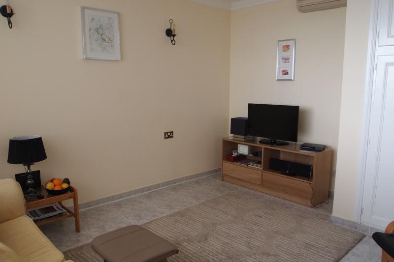 Un salone spazioso moderno con aria condizionata con Smart TV satellitare, lettore iPod/telefono e DVD