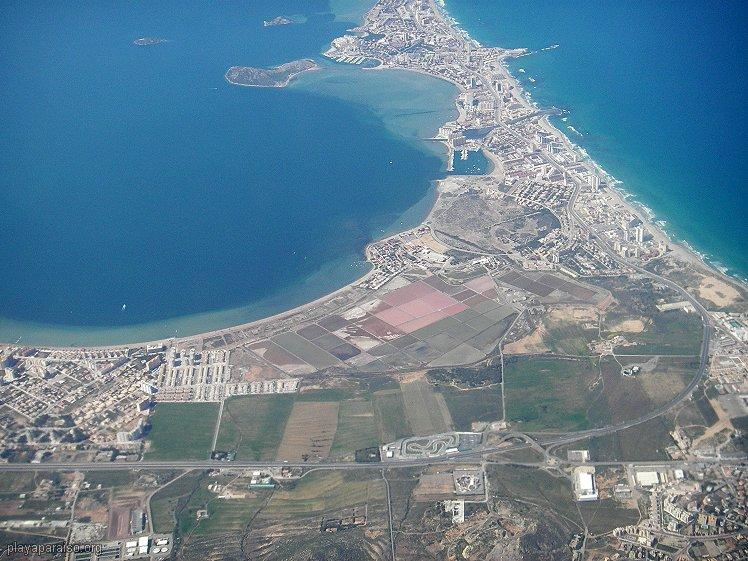 La Manga del Mar Menor aerial. Apt is 1.5kms up the strip