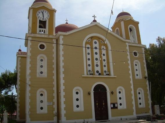 Sotiros Church in the square of Stavros Village 5min walk from the Villa