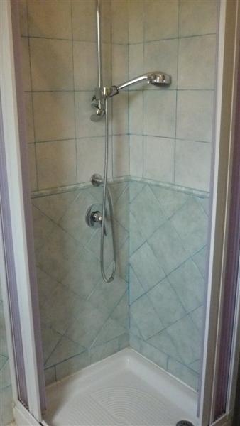 Shower box in the bathroom. Small apt.