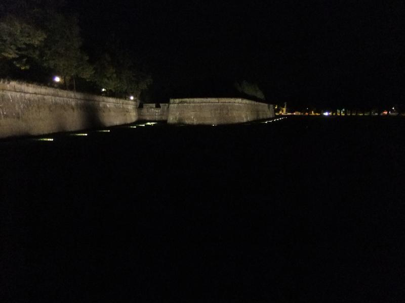 Lucca walls at night