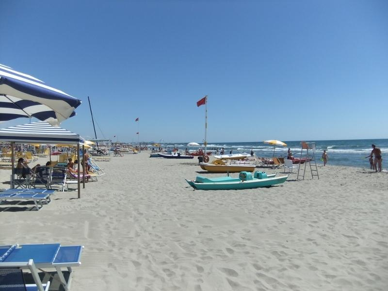 The beach at Viareggio about 40 minutes away