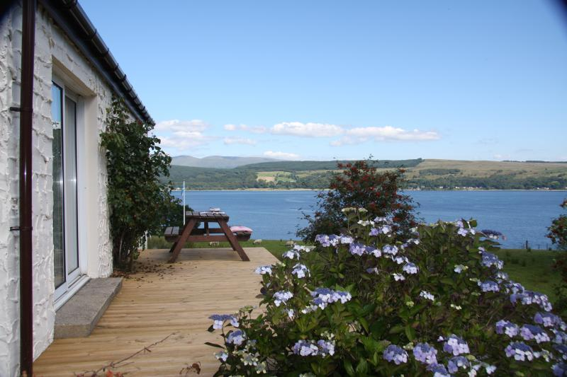 Larch Cottage, stunning sea views, private balcony, rural retreat, pet friendly, holiday rental in Blairmore