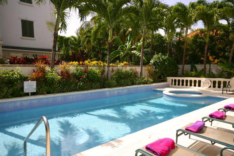 La piscina no está ocupada. En la práctica es compartida con sólo 5 otros apartamentos.