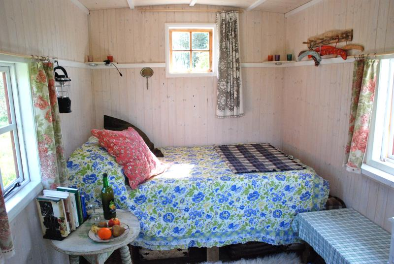 Light and lovely - the bedroom end of the Hut