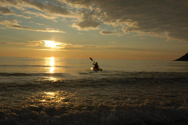 Kayakking in the midnight sun
