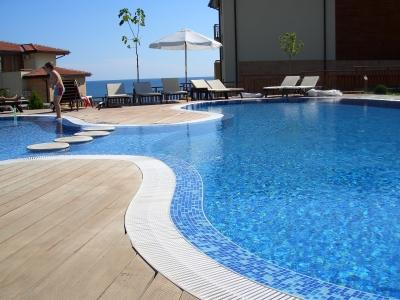 Pool over looking the beach & black sea