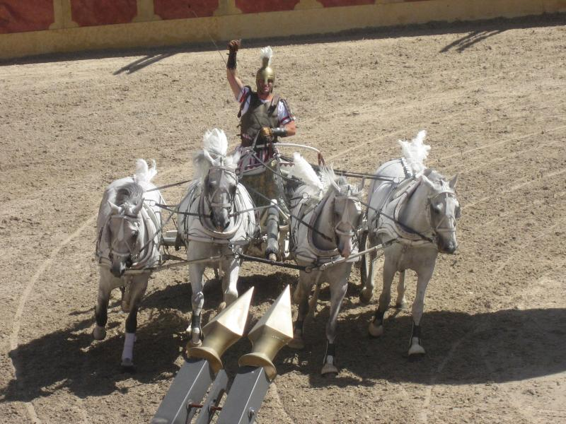 Chariot racing at Puy du Fou, a must see, especially the nightime Cinescenie. Only 20 minutes away.