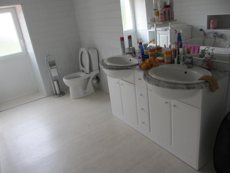 Large bright upstairs double family bathroom with twin washbasins