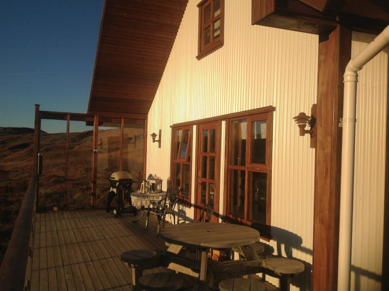 The deck in the sun.