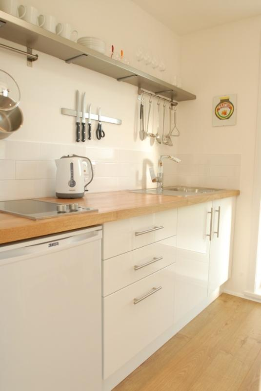Modern compact kitchen, two-ring hob, fridge, microwave, breakfast bar leads onto the balcony
