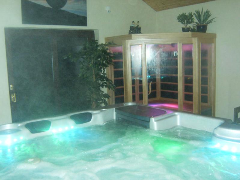 This is the 6 seater hot tub and infra red sauna in the purpose built outdoor room beside cottage 3.