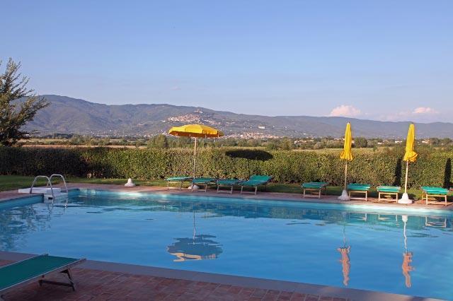 View towards Cortona from swimming pool