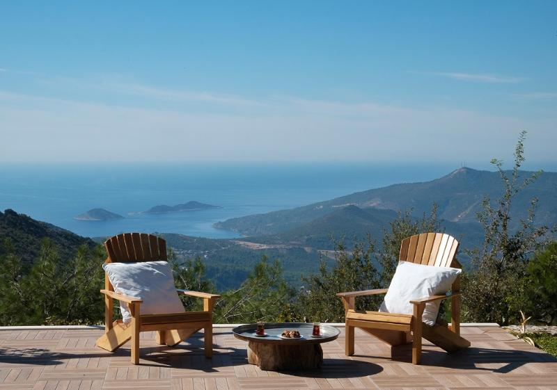 sitting by the pool, watch over Kalkan Bay and Patara Beach