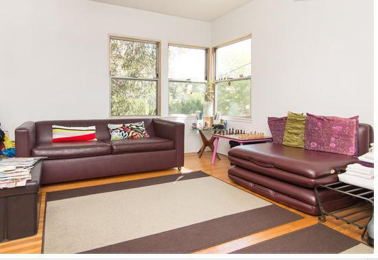 Living room with view of home dotted hills