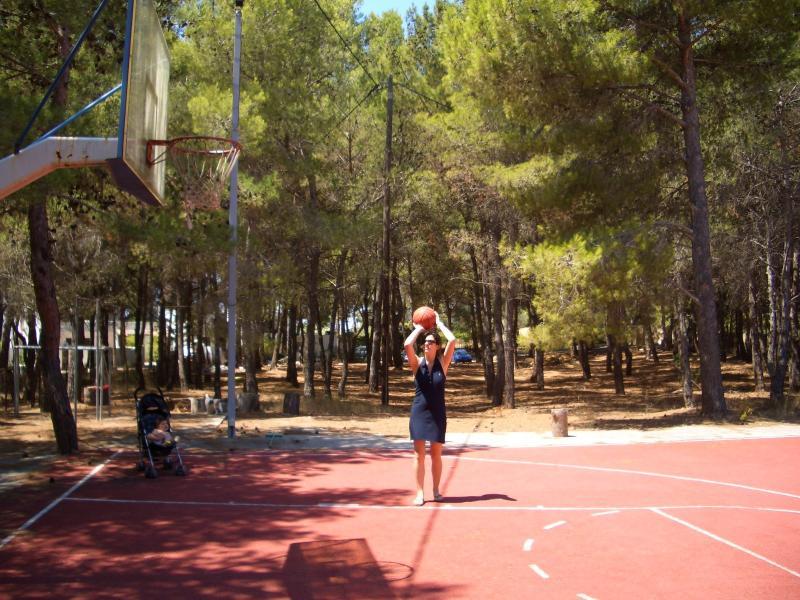quadra de basquete e uma pequena academia no jardim pinheiro privado.