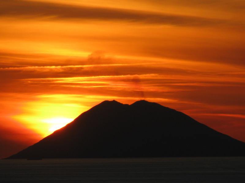 LOCATION,LOCATION,LOCATION, WOW! sun setting over Stromboli volcano taken from apartment balcony