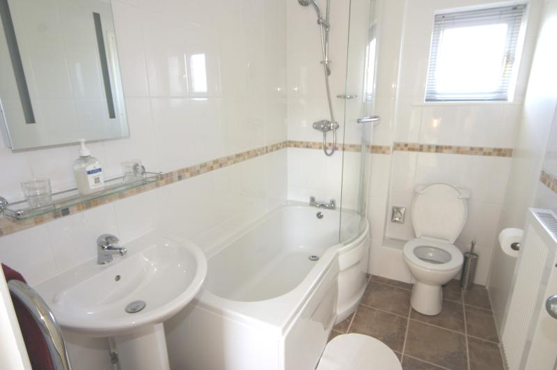 One of the two bathrooms upstairs