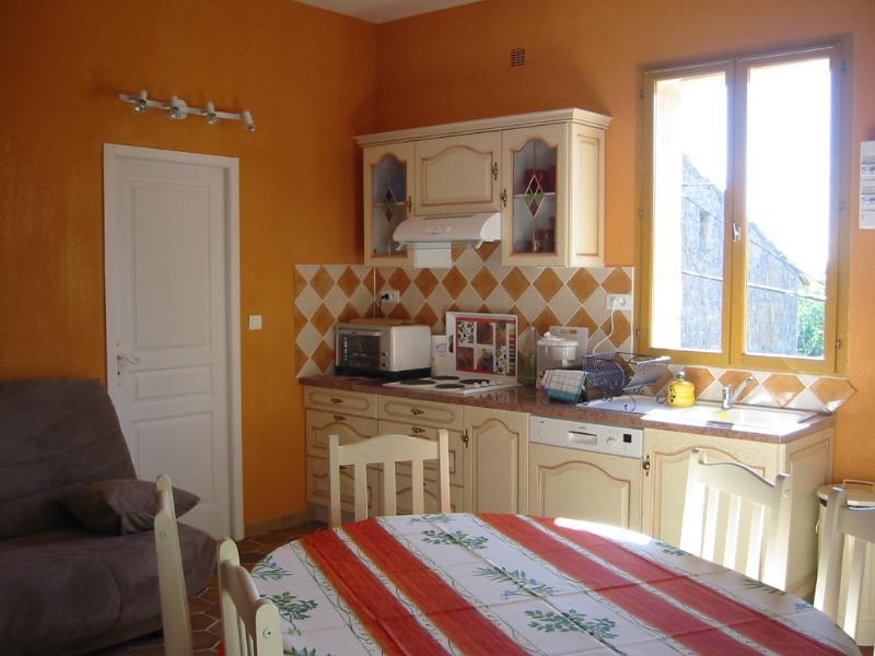 A cozinha/sala de estar