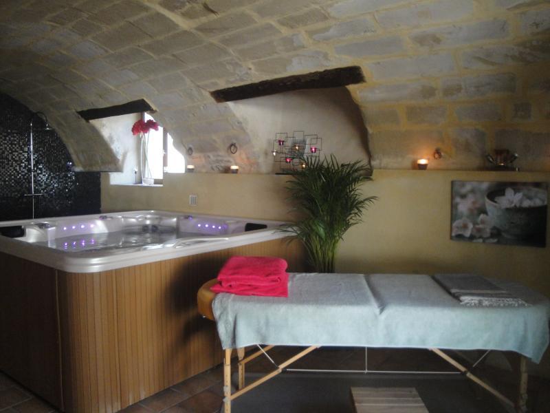 A sala de relaxamento e spa