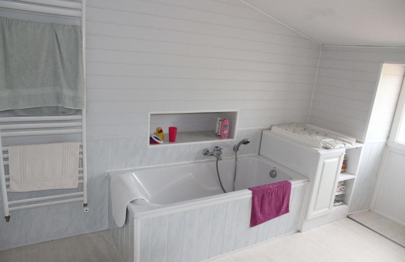 Full size bath, heated towel radiator, baby change area in upstairs double bathroom