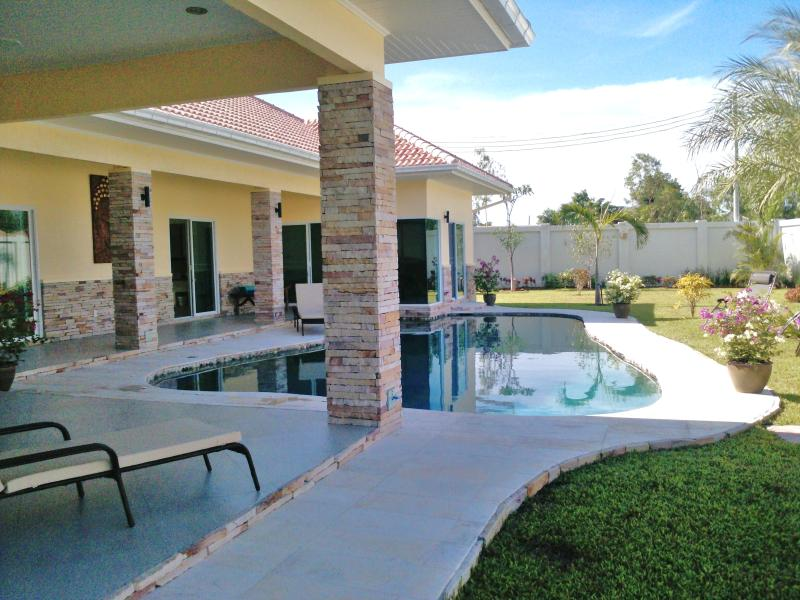 Terrace overlooking pool