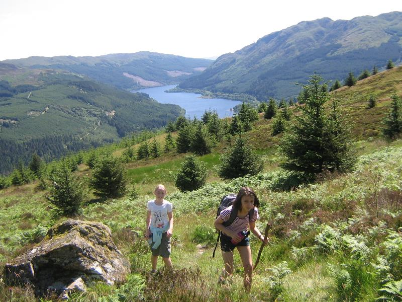 Hill walk up Ben Shian with Loch Lubnaig in background