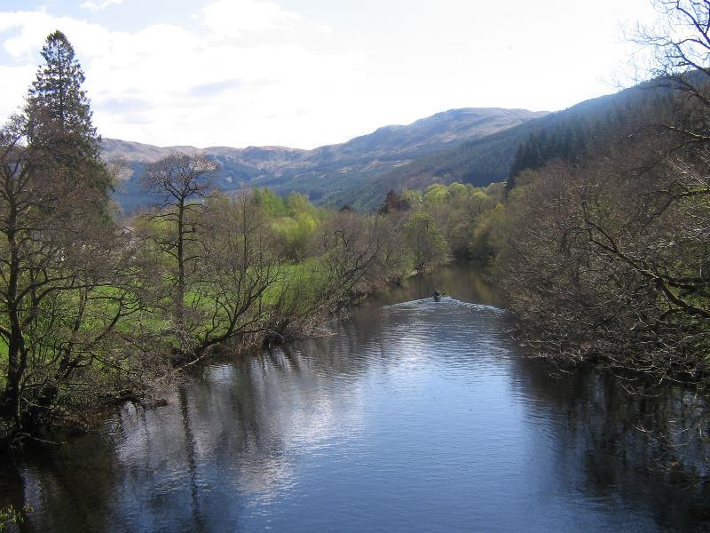 View of River Balvaig from bridge bordering cabin estate