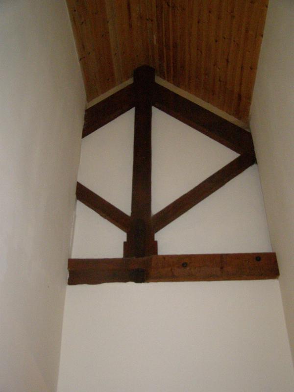 View inside front door showing original roof structure