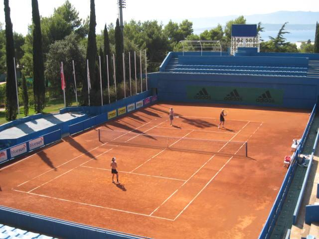 One of the 26 clay tennis courts